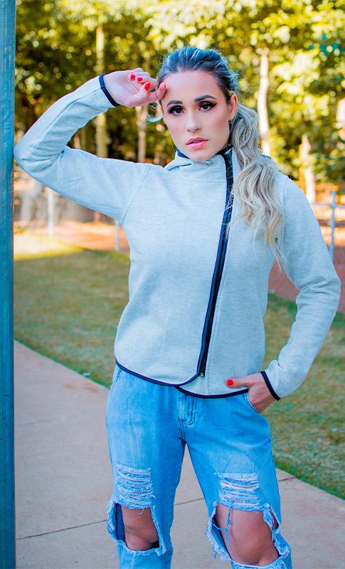 Moletom Feminino Side Zipper - Rikwil